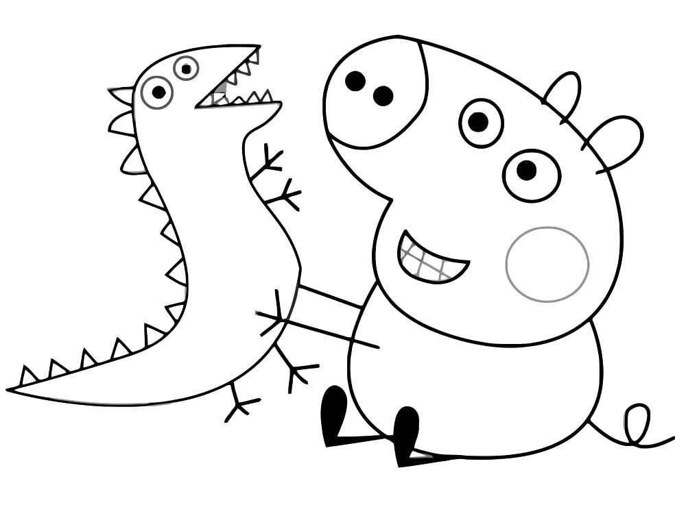 Раскраска  джордж и динозавр. Скачать динозавр.  Распечатать динозавр