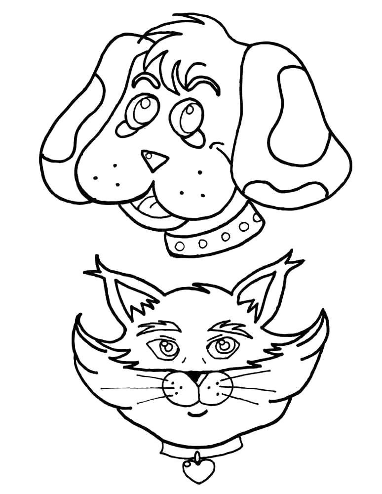 Раскраска Мордочки щенка и котёнка. Скачать .  Распечатать