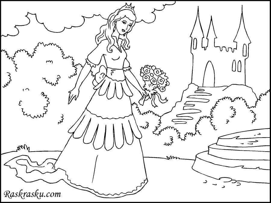 Раскраска Принцесса у дворца. Скачать принцесса.  Распечатать принцесса