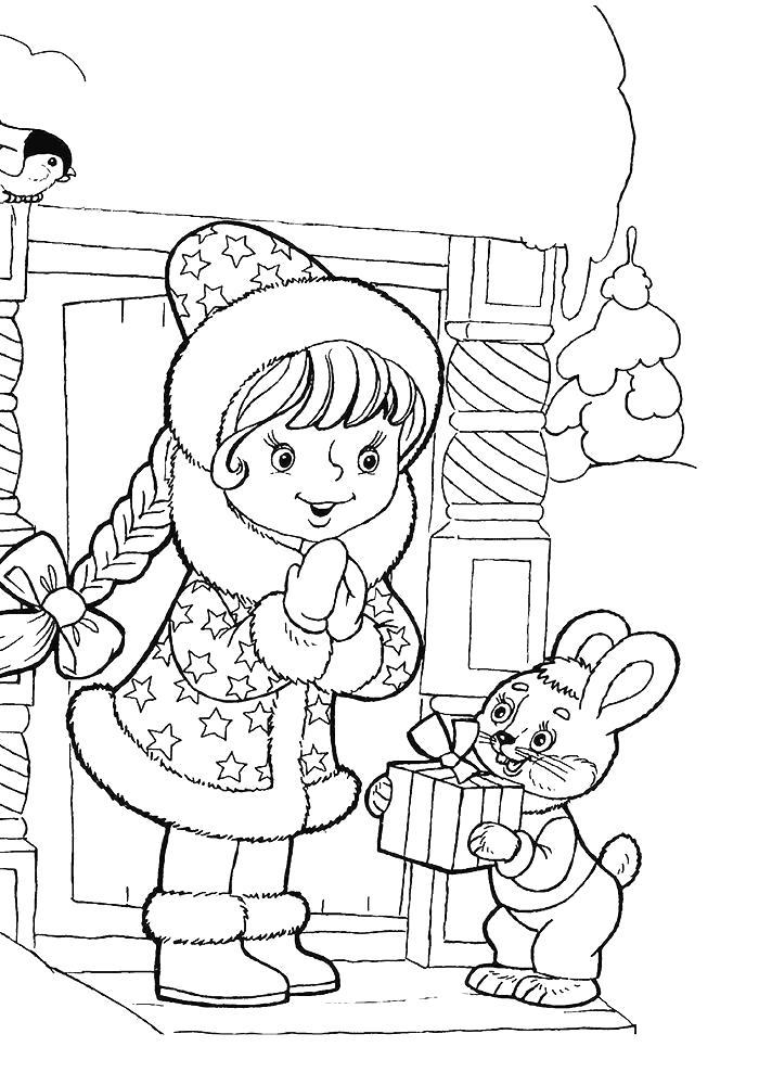 Раскраска Зайчик дарит снегурочке подарок. Скачать новогодние.  Распечатать новогодние