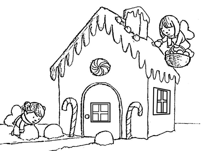 Раскраска  домик, ангелочки собирают снег, . Скачать Дом.  Распечатать Дом