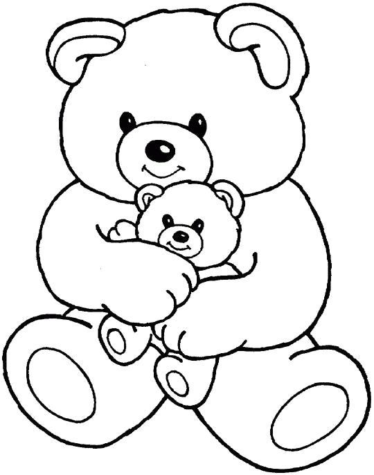 Раскраска Медвежонок в руках медведя. Скачать .  Распечатать