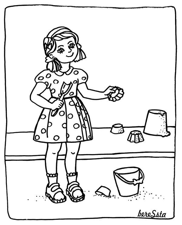 Раскраска Девочка в песочнице. Скачать .  Распечатать
