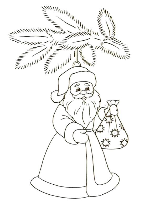 Раскраска Новогодние игрушки, дедушка мороз. Скачать новогодние.  Распечатать новогодние