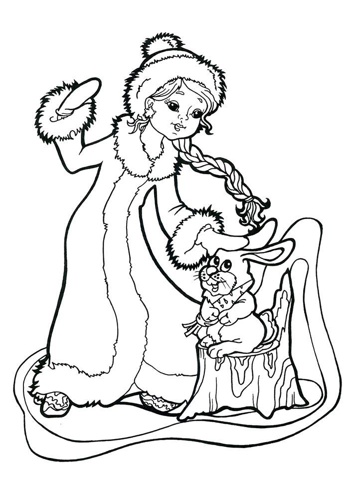 Раскраска Снегурочка гладит зайчика. Скачать новогодние.  Распечатать новогодние