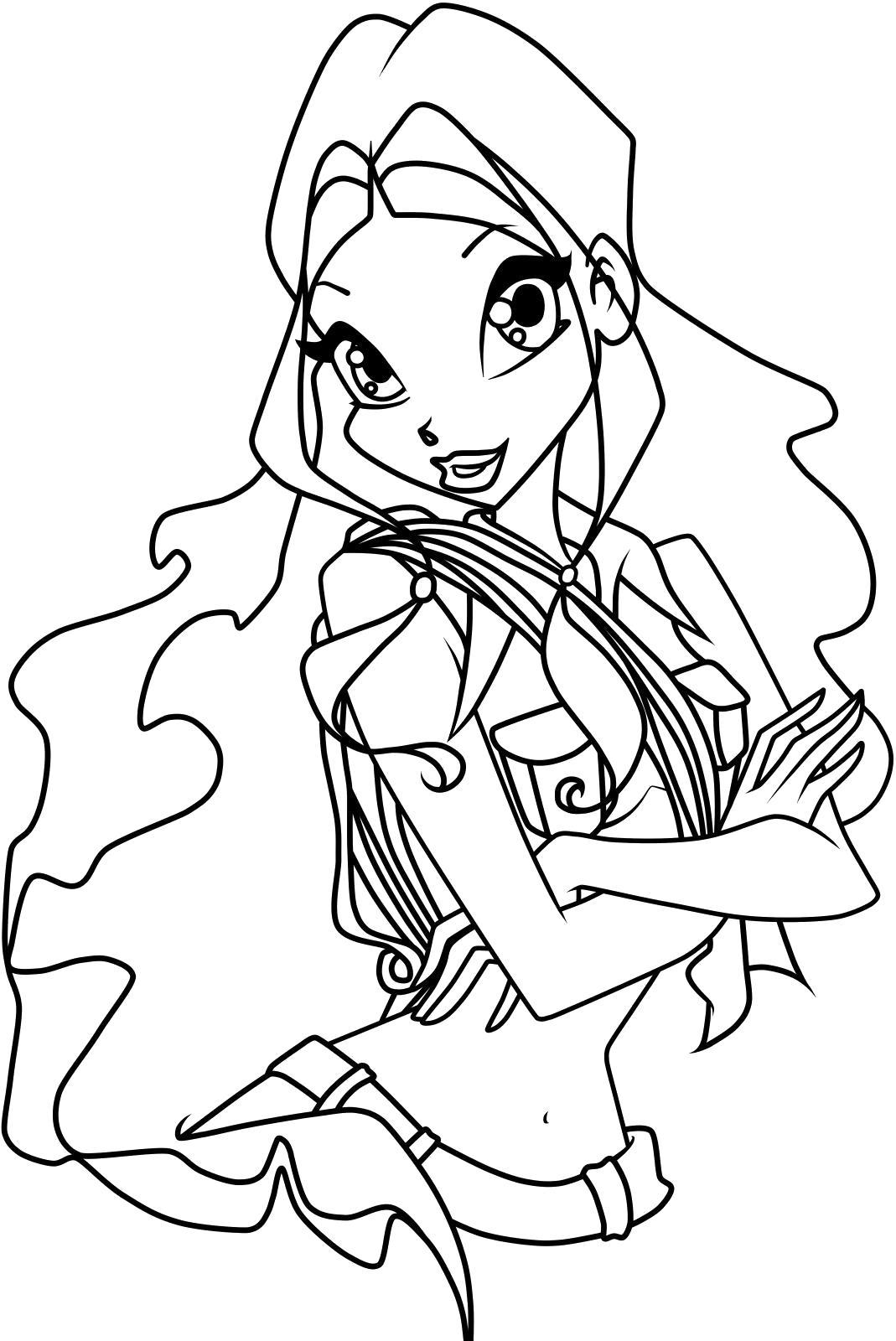 Раскраска  Лейла со скрещенными руками. Скачать Винкс.  Распечатать Винкс