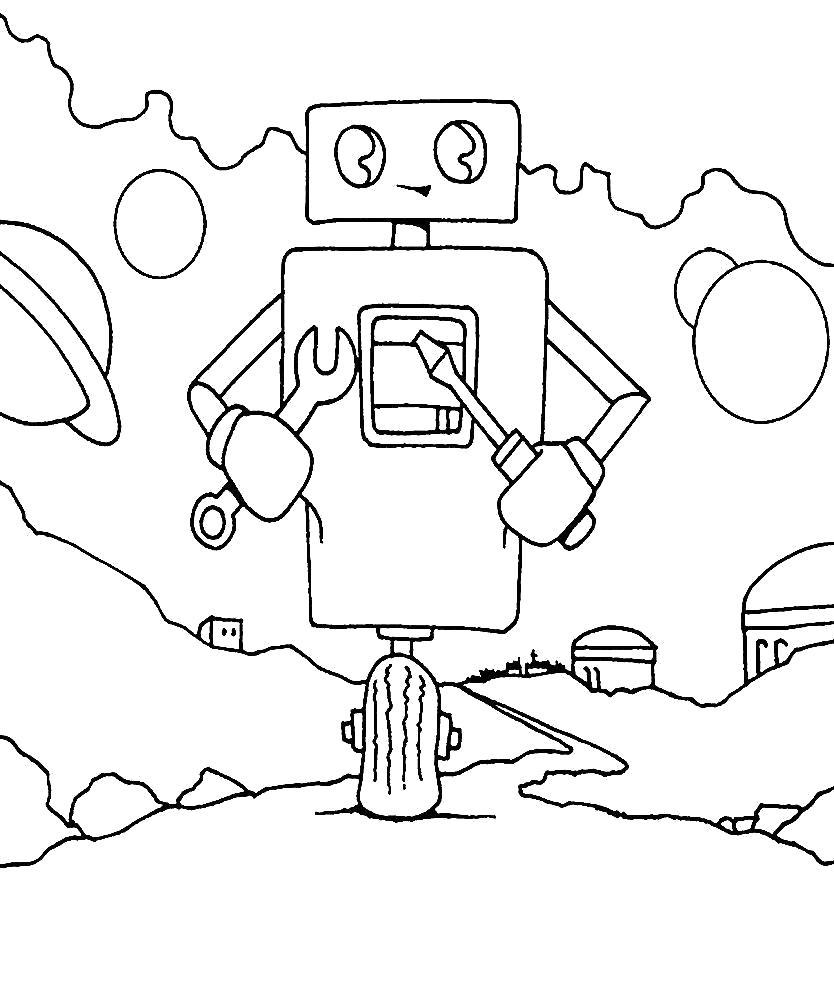 Раскраска  роботы скачать бесплатно. Скачать Робот.  Распечатать Робот