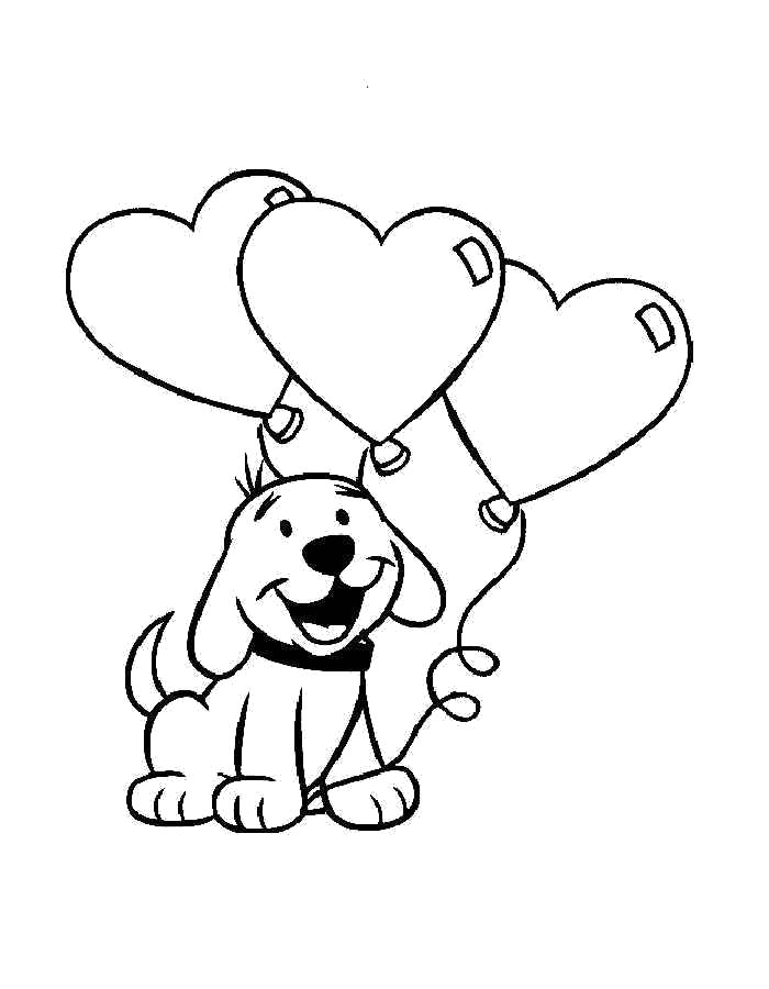 Раскраска  День Святого Валентина, собачка с воздушными сердечками. Скачать день Святого Валентина.  Распечатать день Святого Валентина