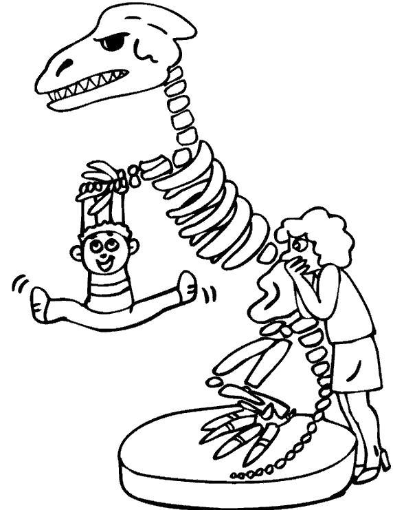 Раскраска Скелет динозавра. Скачать Скелет.  Распечатать Скелет