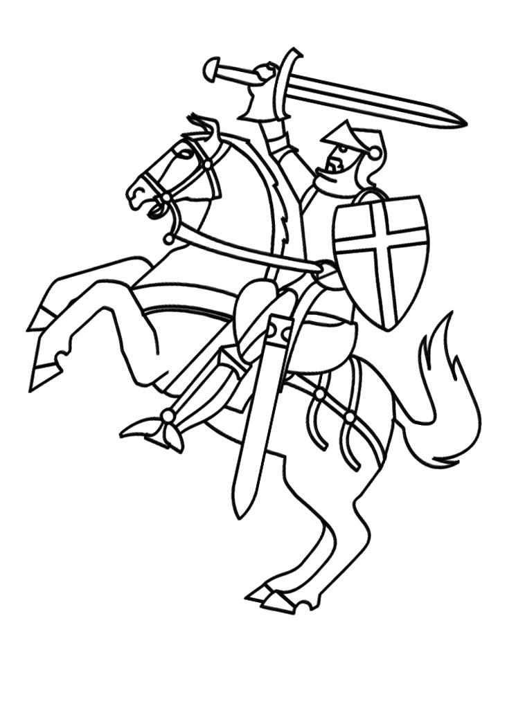 Раскраска Смелый рыцарь на коне готов сражаться. Скачать Рыцарь.  Распечатать Рыцарь