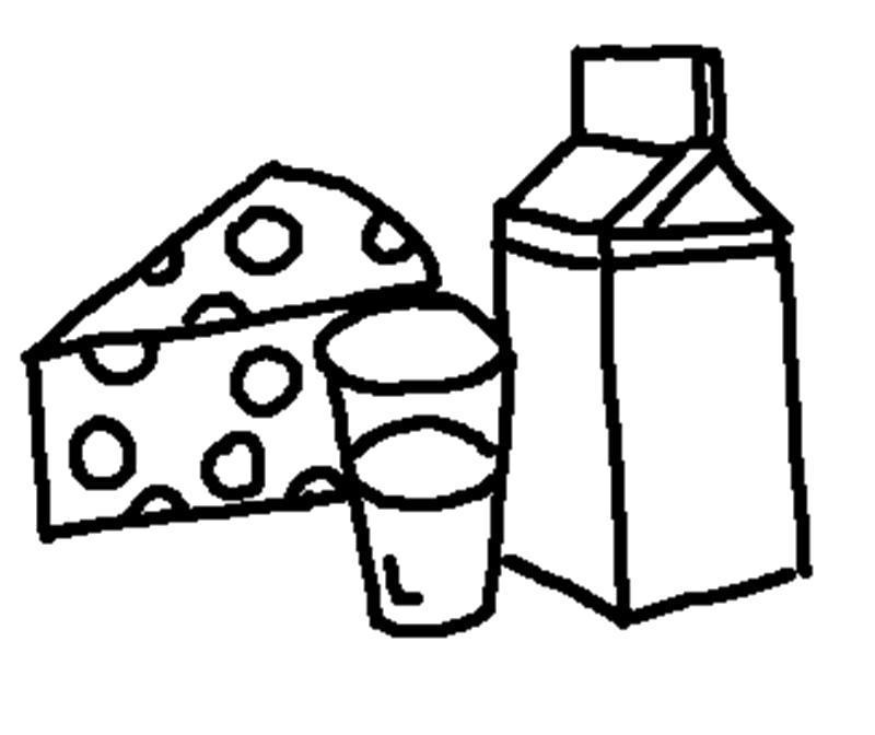 Раскраска Сыр и молоко. Скачать .  Распечатать