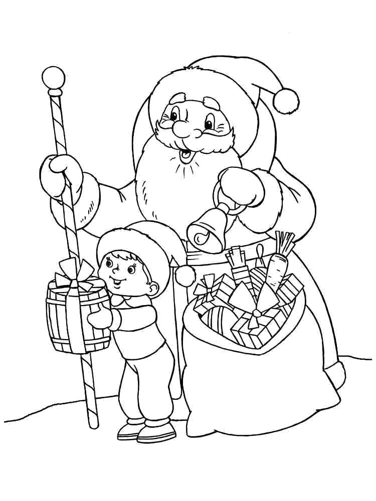 Раскраска дед мороз дарит мальчику подарок.. Скачать дед мороз с подарками.  Распечатать Дед мороз