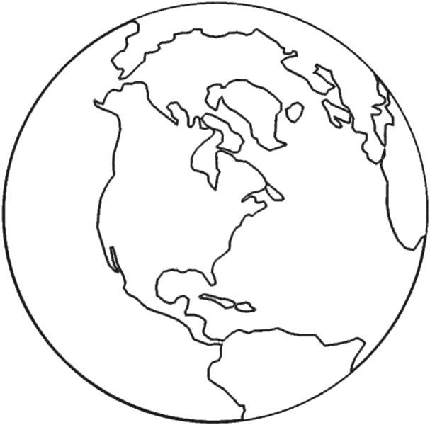 Раскраска  Континенты, земной шар. Скачать Планета.  Распечатать Планета