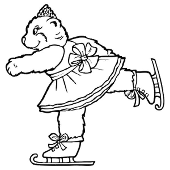 Раскраска Кошка на коньках. Скачать .  Распечатать