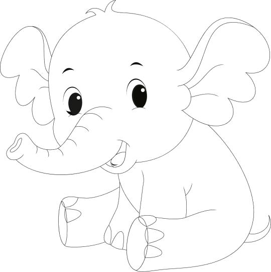 Раскраска маленьких слоник смеется. Скачать слон.  Распечатать слон