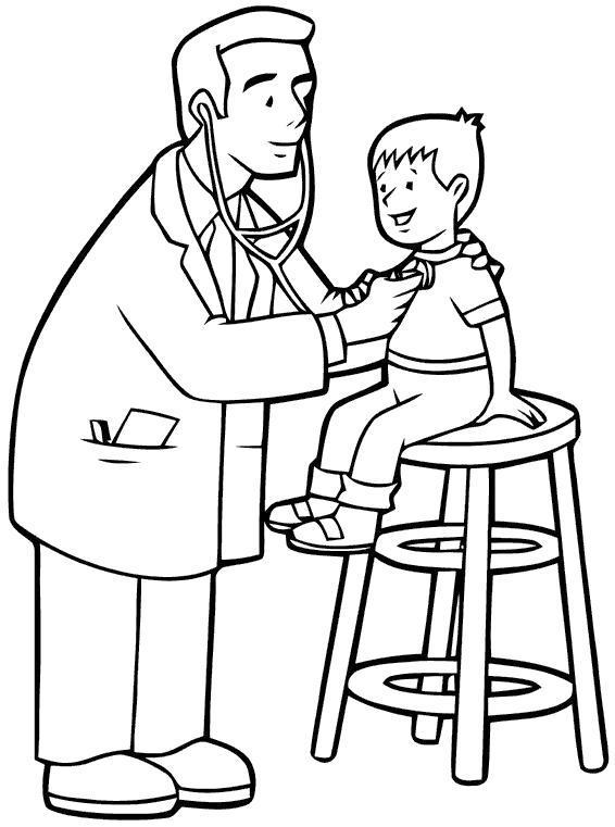 Раскраска врач слушает мальчика, доктор, . Скачать больница.  Распечатать больница
