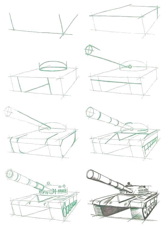Раскраска Рисуем Танк Т-72 (СССР). Скачать танк.  Распечатать танк
