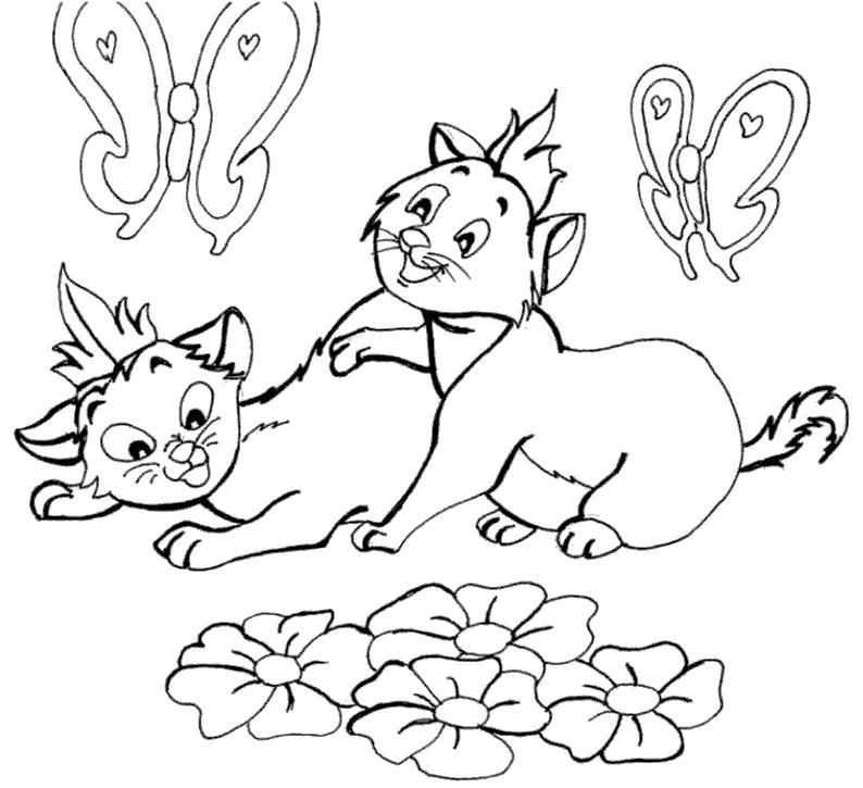 Раскраска коты среди цветов и бабочек. Скачать .  Распечатать
