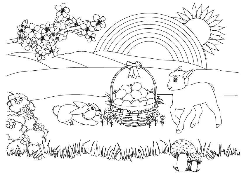 Раскраска коза и заяц, корзина с грибами, радуга, солнце светит. Скачать Весна.  Распечатать Весна