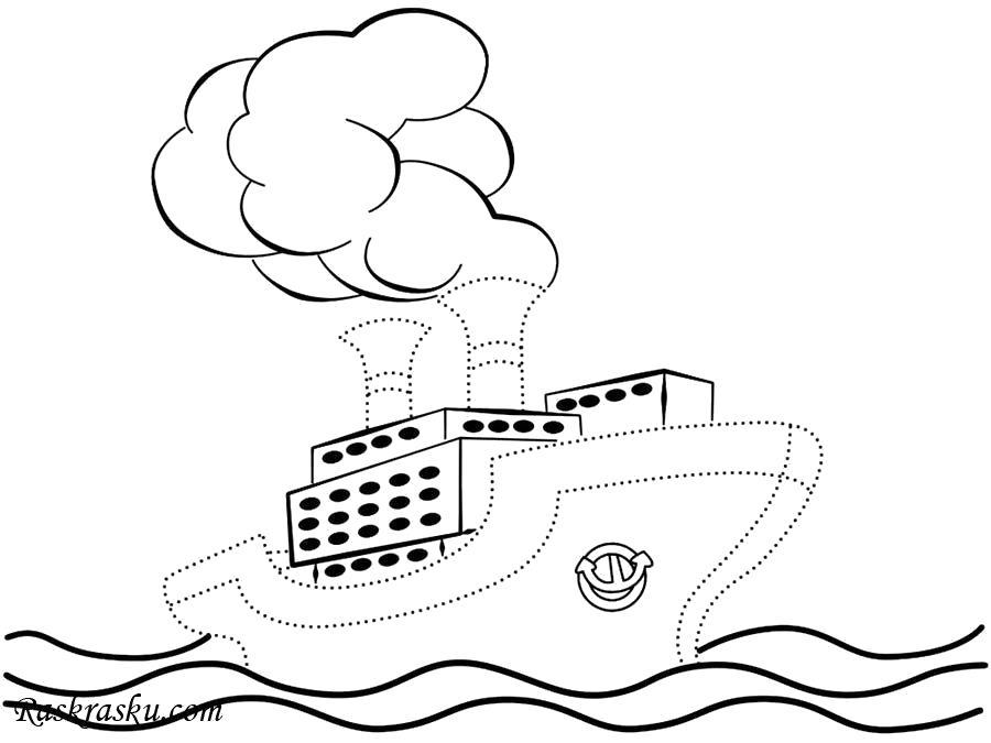 Раскраска Кораблик на волнах. Скачать Кораблик.  Распечатать Кораблик