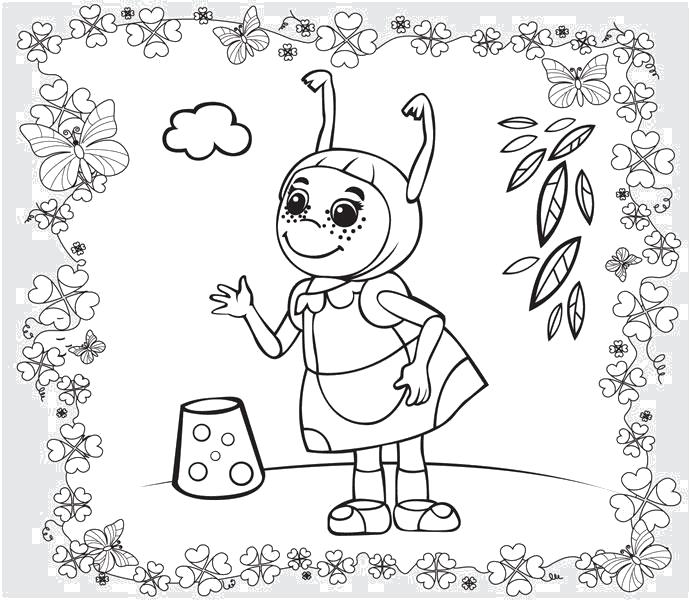 Раскраска  Мила из мультфильма Лунтик. Скачать Мила.  Распечатать Лунтик