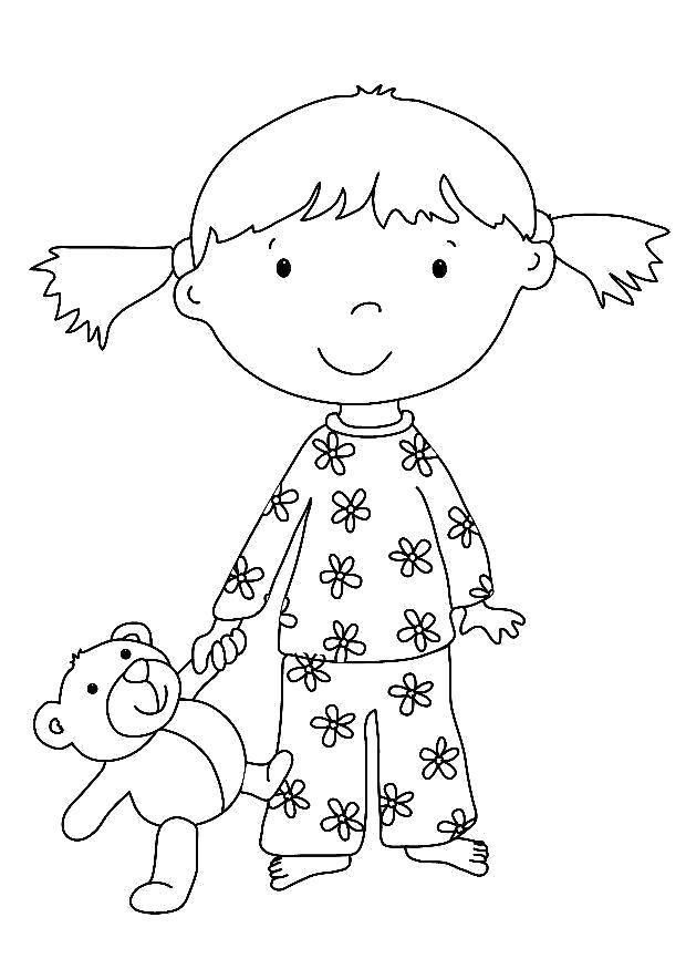 Раскраска девочка в пижаме с мишкой. Скачать Девочка.  Распечатать Девочка