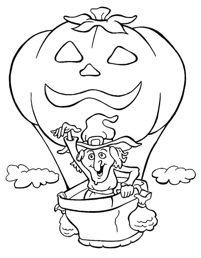 Раскраска Ведьма на шаре. Скачать ведьма, тыква на хэллоуин.  Распечатать Хэллоуин