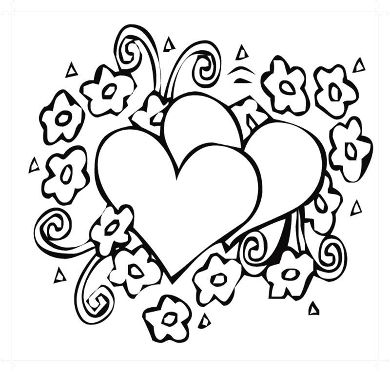 Раскраска  валентинка с сердечками. Скачать .  Распечатать