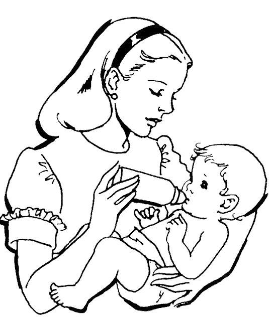 Раскраска  мама и малыш. Скачать .  Распечатать