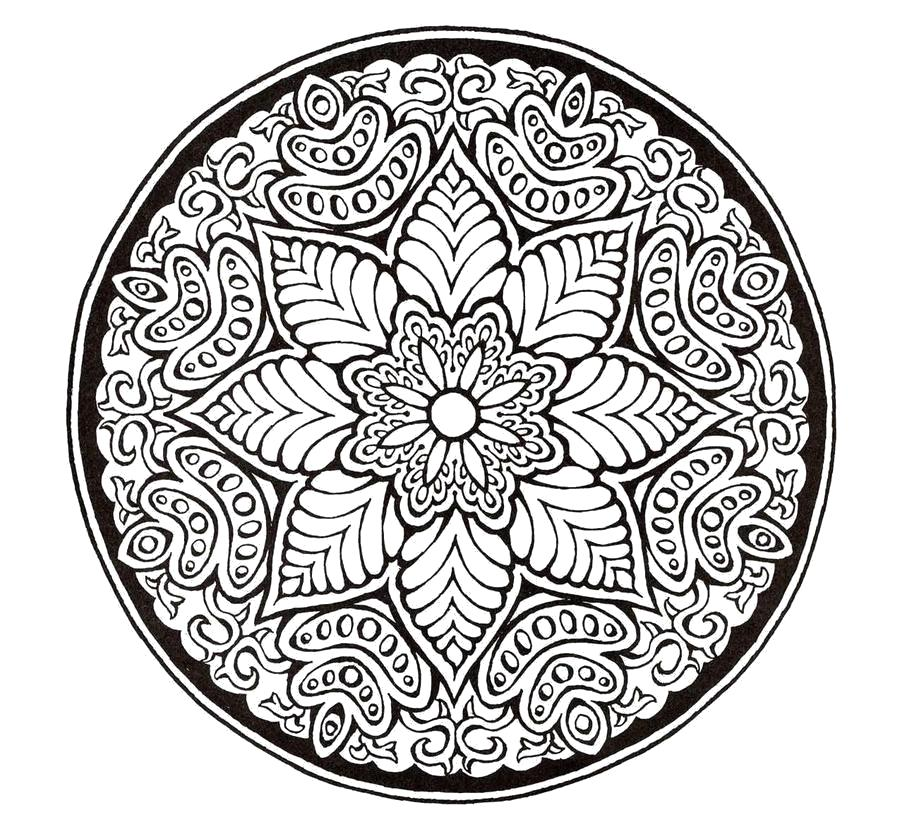 Раскраска узоры в круге. Скачать антистресс.  Распечатать