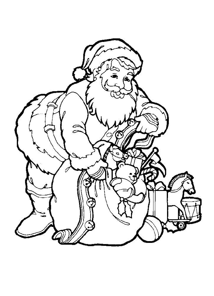 Раскраска Санта Клаус . Скачать новогодние.  Распечатать новогодние