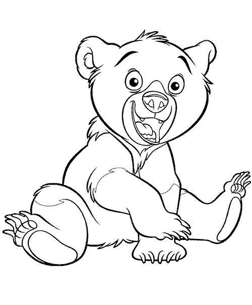 Раскраска счастливый медвежонок, братец медвежонок. Скачать Братец медвежонок.  Распечатать Братец медвежонок
