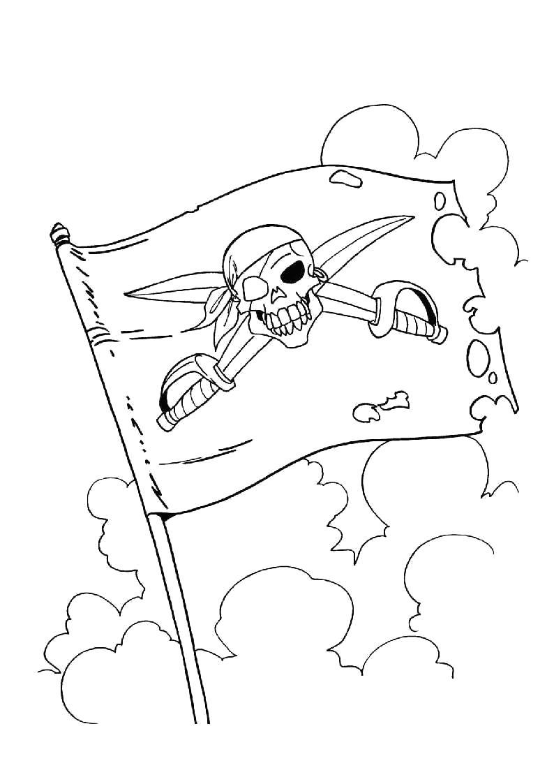 Раскраска Пиратский флаг. Скачать Пират.  Распечатать Пират