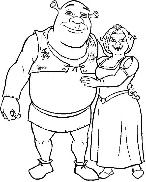 Раскраска принцесса Фиона и Шрек. Скачать шрек.  Распечатать шрек
