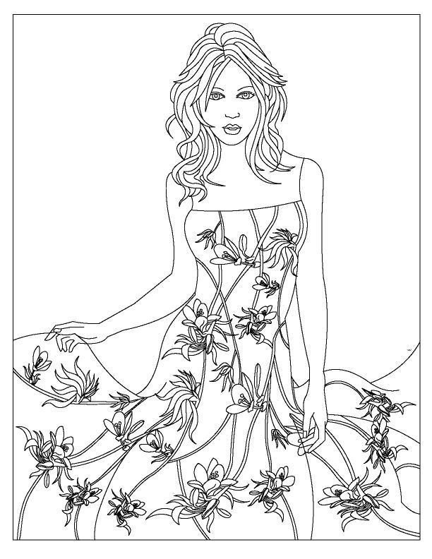 Раскраска  платье девушка платье рисунки в форме цветов красивая. Скачать мода.  Распечатать Для девочек