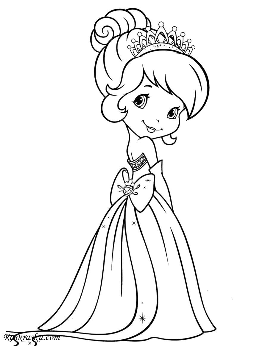 Раскраска Шери в платье принцессы. Скачать принцесса.  Распечатать принцесса