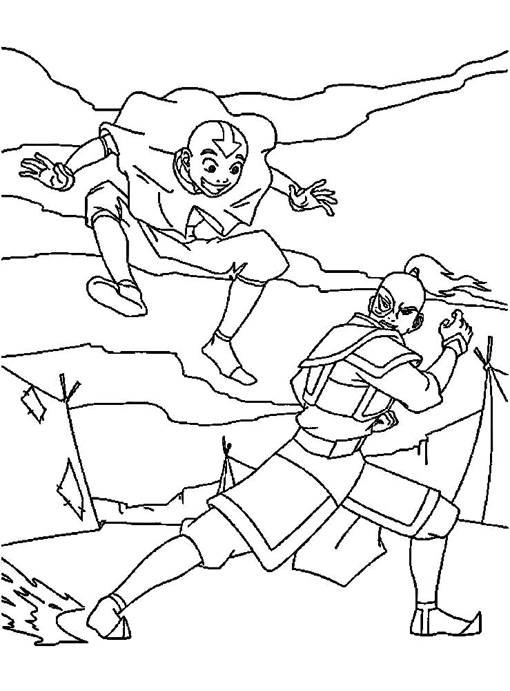 Раскраска Аанг и Зуко дерутся. Скачать Аватар.  Распечатать Аватар