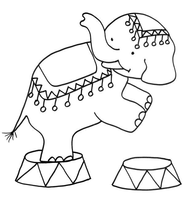 Раскраска слон циркач. Скачать слон.  Распечатать Дикие животные