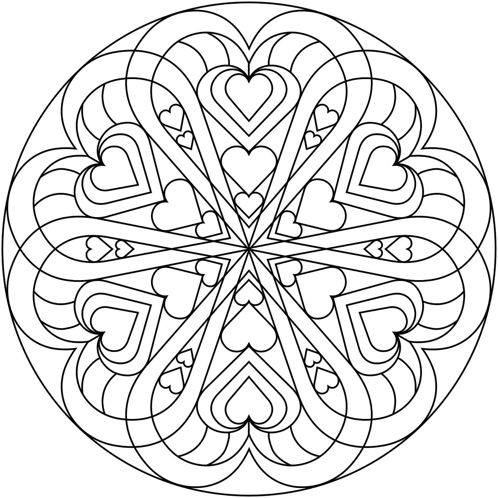 Раскраска Мандала из сердец. Скачать мандала.  Распечатать мандала