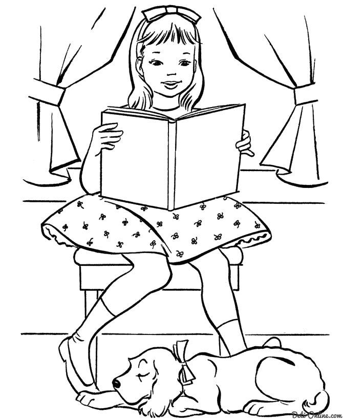 Раскраска  девочка читает книгу, собака рядом спит. Скачать Девочка.  Распечатать Девочка