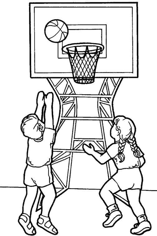 Раскраска Мальчик и девочка играют в баскетбол. Скачать .  Распечатать