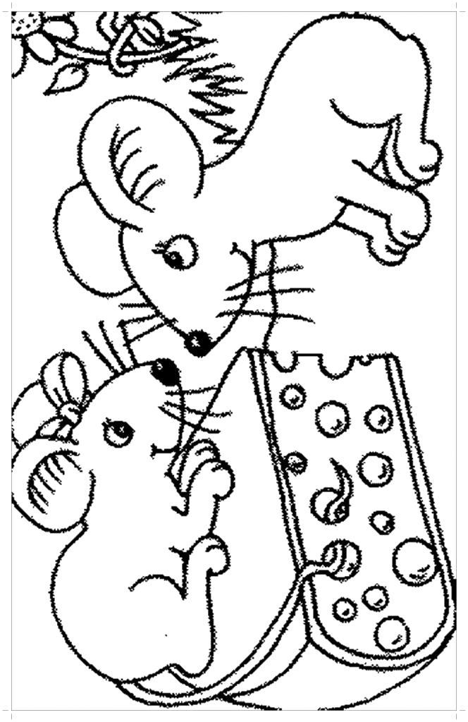 Раскраска Мыши и сыр . Скачать сыр.  Распечатать еда