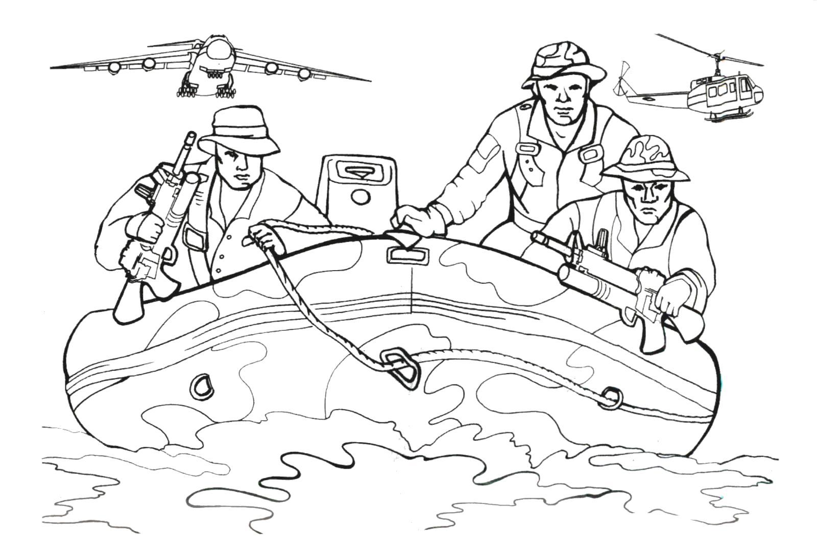 Раскраска Водная операция. Скачать Солдат.  Распечатать Солдат