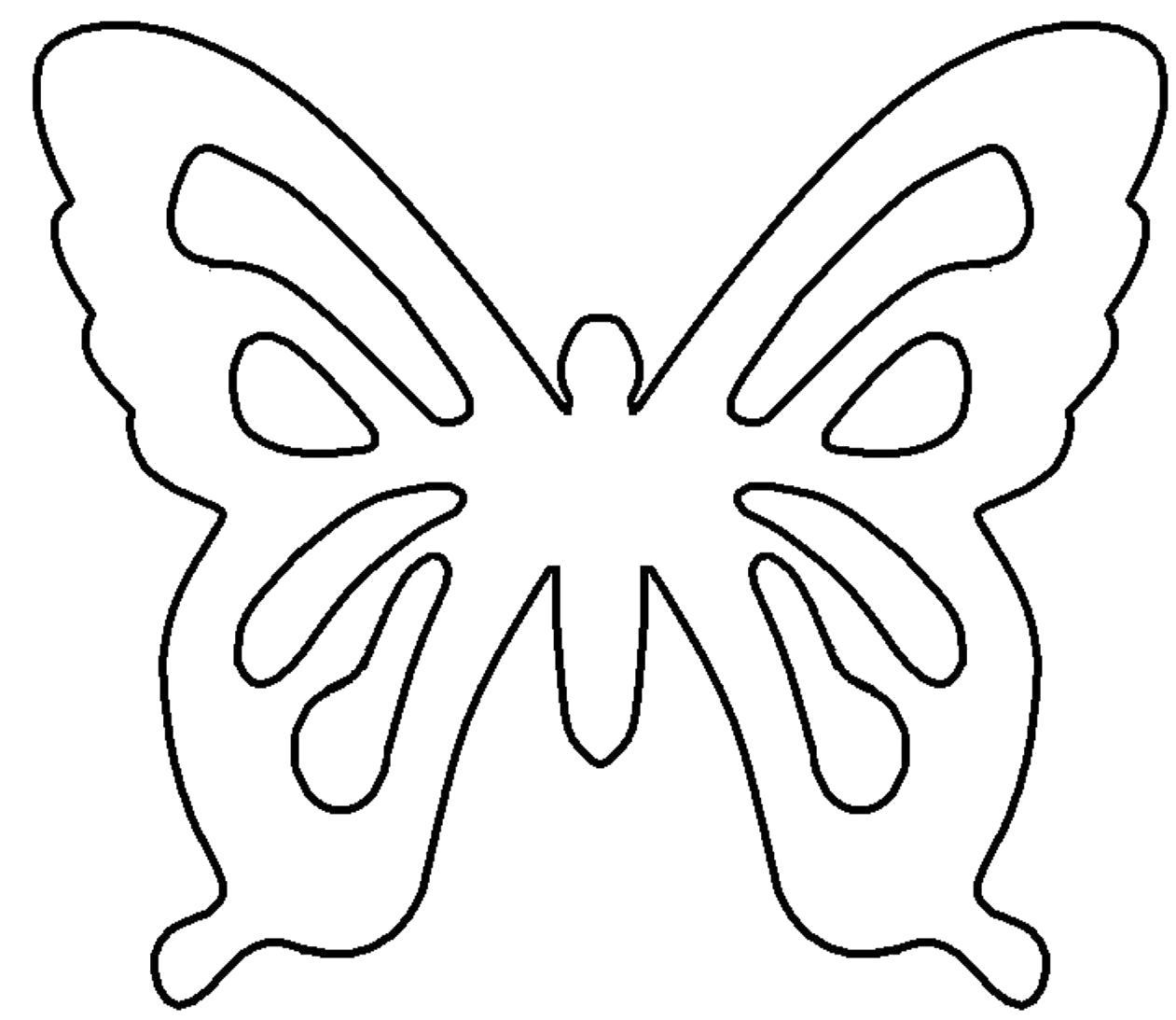 Раскраска контур бабочки для вырезания. Скачать Бабочки.  Распечатать Бабочки