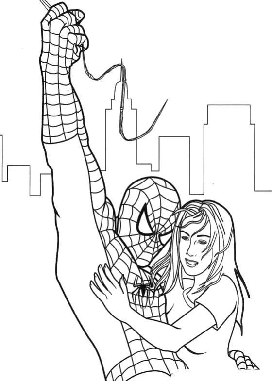 Раскраска Человек паук с девушкой. Скачать Человек Паук.  Распечатать Человек Паук