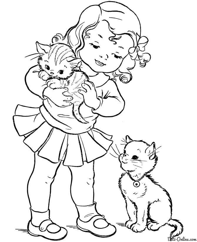 Раскраска девочка рада котятам. Скачать .  Распечатать