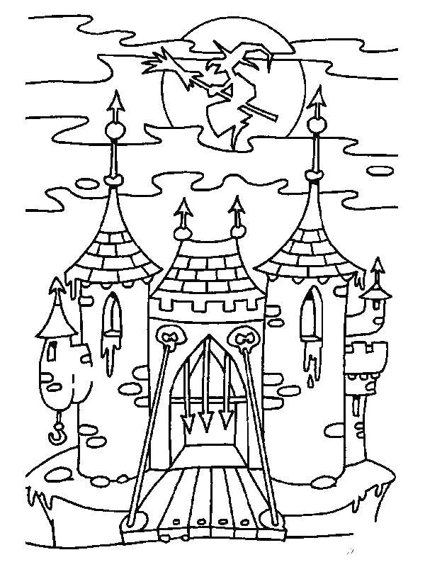 Раскраска замок через речку. Скачать Замок.  Распечатать Замок