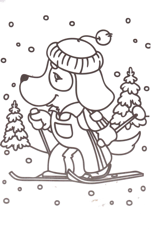 Раскраска собачка катается на лыжах. Скачать новогодние.  Распечатать новогодние