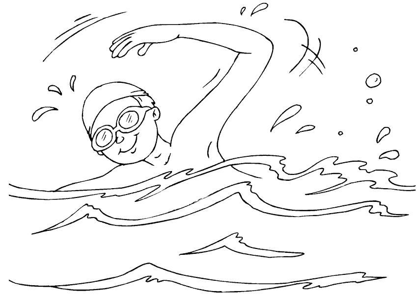Раскраска  бассейн, мальчик купается. Скачать Лето.  Распечатать Лето