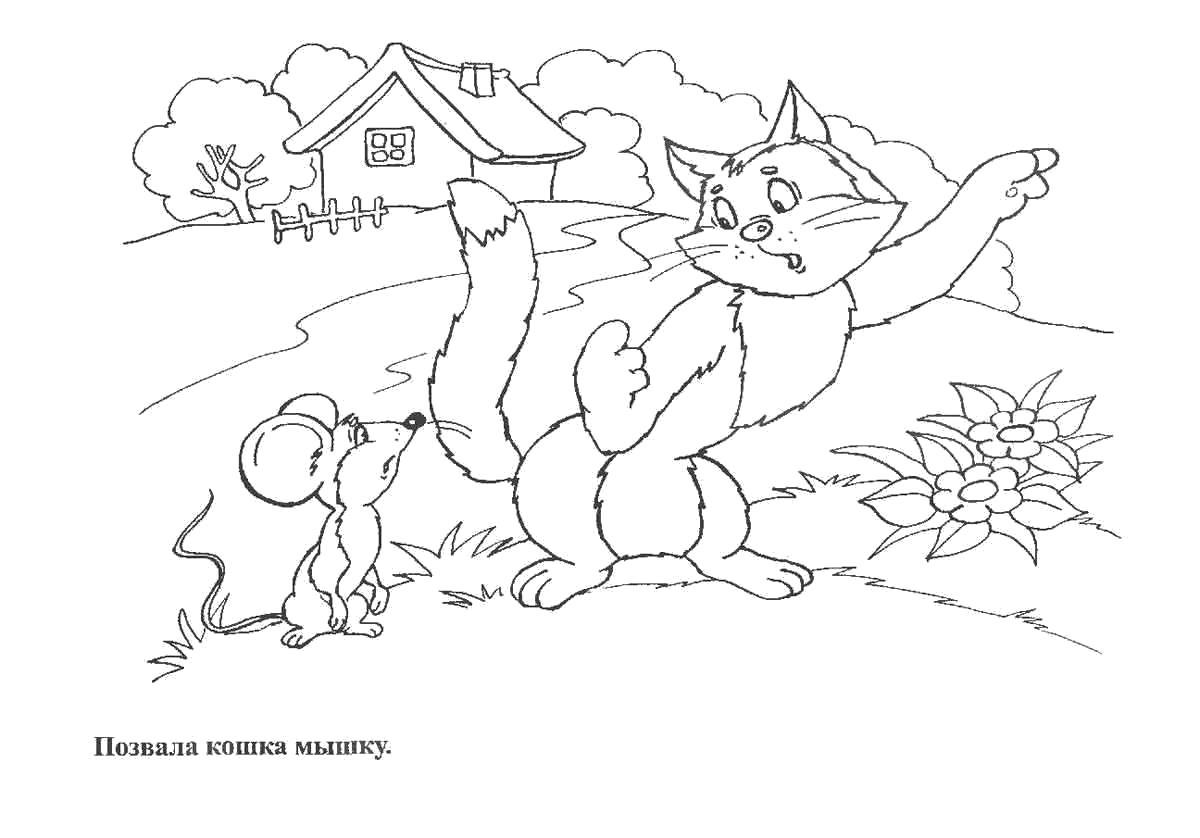 Раскраска позвала кошка мышку. Скачать репка.  Распечатать репка